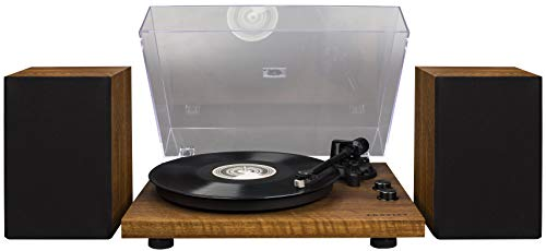 (Crosley C62 Belt-Drive Bluetooth Turntable System with Included Speakers, Walnut)