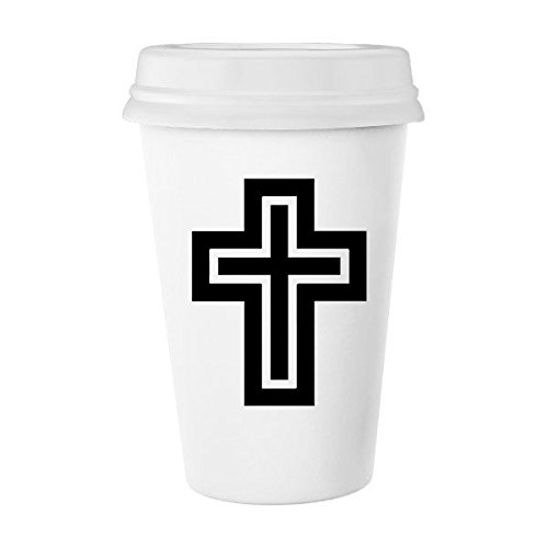 Religion Christianity Belief Church Black White Holy Cross Culture Design Art Illustration Pattern Classic Mug White Pottery Ceramic Cup Milk Coffee Cup 350 ml by DIYthinker