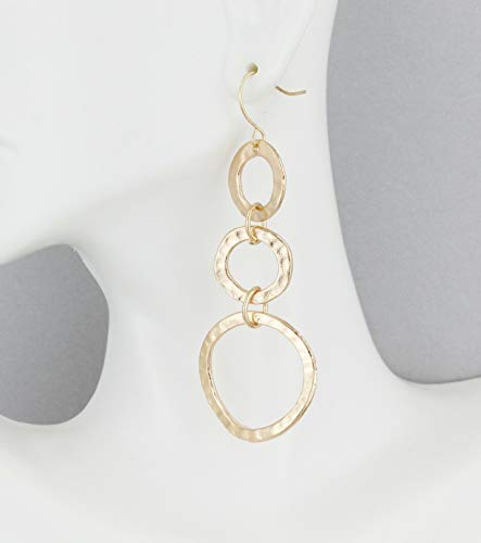 Pale Rose Gold chain link earrings hammered circles 2 7/8 long ()