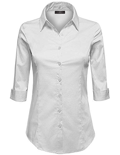 Made By Johnny MBJ WT1947 Womens 3/4 Sleeve Tailored Button Down Shirts L White ()