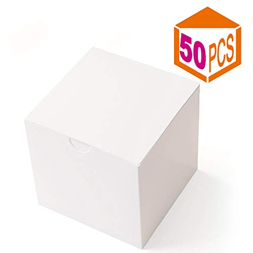 MESHA Gift Boxes 3 x 3 x 3 Inches, White Paper White Boxes with Lids for Gifts, Crafting, Cupcake Packaging Boxes (50) -