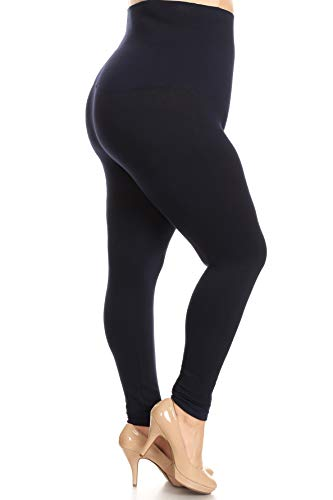 (ICONOFLASH Women's High Waist Tummy Compression French Terry Lined Seamless Leggings - Regular and Plus Size (Plus/Queen Size, Navy))