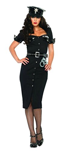 Cheap Boots Police (Leg Avenue Womens Lt. Lockdown Officer Police Outfit Fancy Dress Sexy Costume, XL)