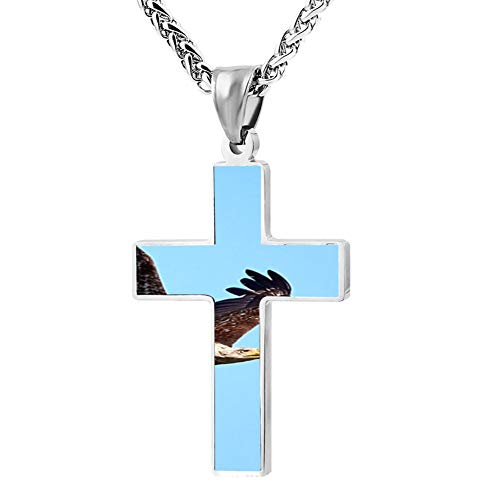 (Sky Flying Bald Eagle Cross Necklace for Men and Women, Black Zinc Alloy, 24)
