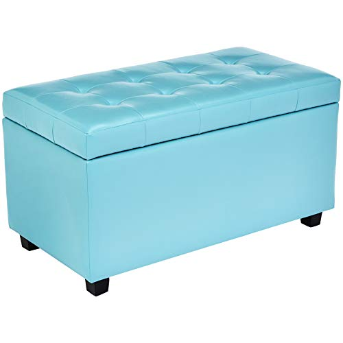 Red Hook Ravenna Storage Ottoman Bench with Faux-Leather Upholstery – 34 x 18 x 19 Inches, Minty Blue