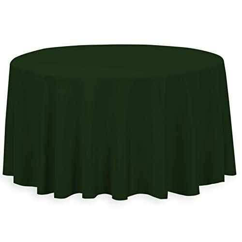 LinenTablecloth 132-Inch Round Polyester Tablecloth Hunter -