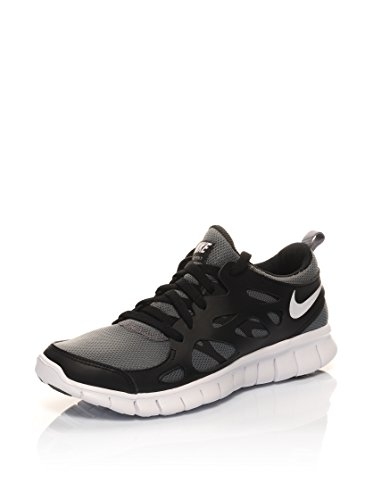 Nike Free Run 2 (Gs) - - Unisex adulto Negro / Gris / Blanco