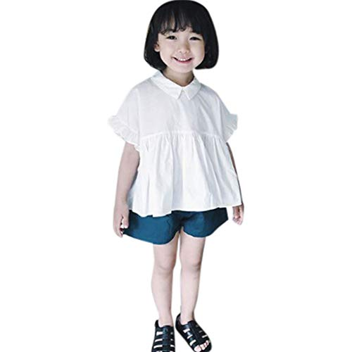 Fabal Toddler Kids Baby Girls Outfits Clothes Doll Collar T-Shirt Tops+Shorts 2PCS Set White