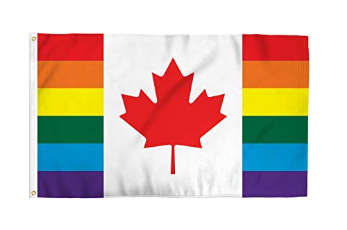 - Canada 3x5 Foot LGBTQ+ Pride Flag - Bold Vibrant Colors, UV Resistant, Golden Brass Grommets, Durable 100 Denier Polyester, Mighty-Locked Stitching - Perfect for Indoor or Outdoor Flying!