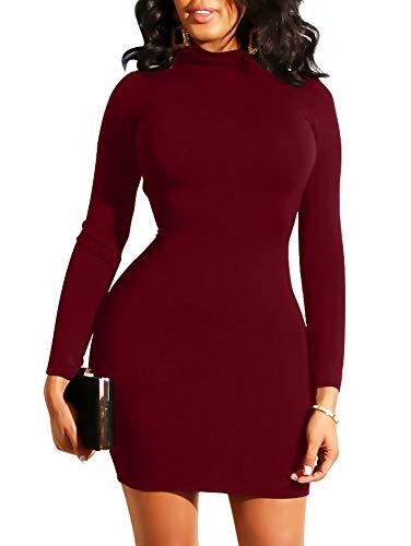 XXTAXN Women's Sexy High Neck Long Sleeve Bodycon Zipper Back T Shirt Mini Dress Wine Red