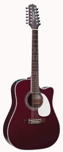 Takamine Pro Series JJ325SRC-12 John Jorgenson 12 String Dreadnought Acoustic Electric Guitar, Gloss Red with Case