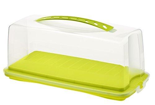 rotho 1722505070 Kuchenbehälter Kuchenbutler rechteckig Fresh aus Kunststoff mit sicherem Verschluss und bequemem Tragegriff, circa 36 x 16,5 x 16,5 cm, grün/transparent by Rotho