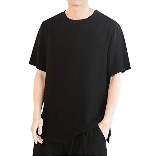 (Men's Summer Casual Pure Color Cotton Linen Short Sleeve T-Shirts Top Blouse)