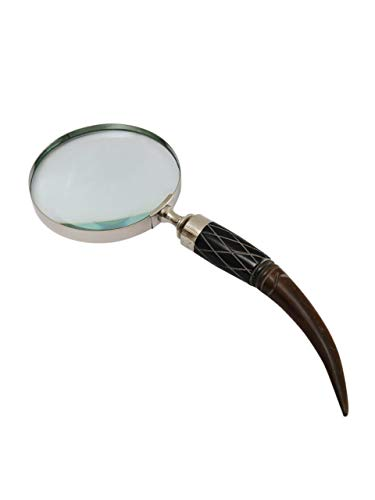 (DECONOOR Magnifier Magnifying Glass Handmade in Brass Silver Plated with Horn Handle, 10X Capacity)