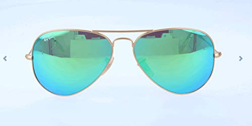 Ray-Ban RB3025 Aviator Flash Mirrored Sunglasses, Matte Gold/Green Flash, 55 mm (55mm Ray Ban Aviators)