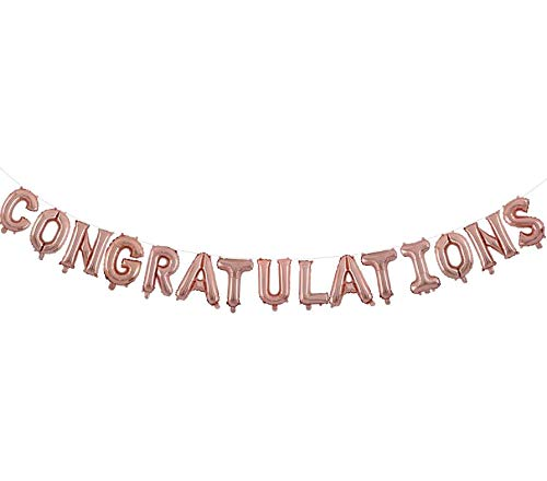 Congratulations Balloons Banner rose gold 16 inch letter Balloons Foil Mylar Balloons Set for Graduation Party Decorations Supplies,Congratulations Graduate Balloons Congrats Grad Party Supplies (rose gold)]()