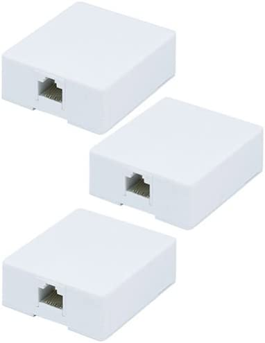 3x 2 port Cat6 Cat 6 RJ45 Network//Internet Cable Wall Surface Mount Compact Box