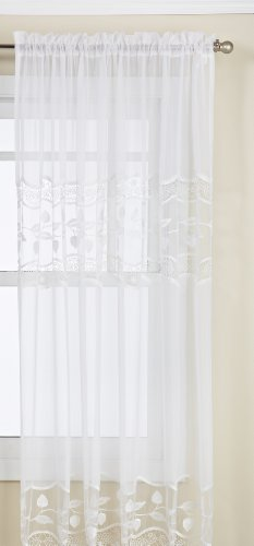 Lorraine Home Fashions Seville Tailored Window Curtain Panel, 58 by 84-Inch, White