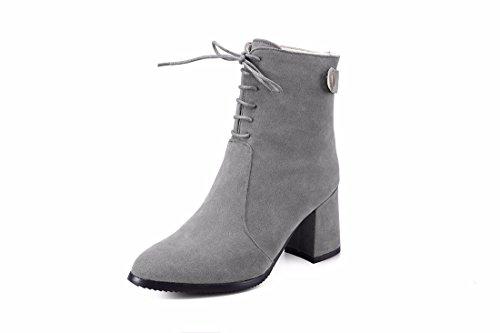 Botas Mate Alto de Invierno Women's Shoes Tacón de Tamaño Botas y Botas de Gray RFF tqO1Rxwa
