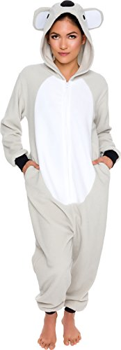 Silver Lilly Slim Fit Animal Pajamas - Adult One Piece Cosplay Koala Costume (Grey/White, Medium)