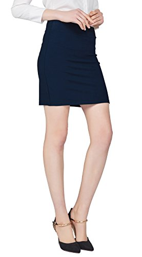 Urban CoCo Women's Elastic Waist Stretch Bodycon Midi Pencil Skirt (M, Navy Blue-Short)