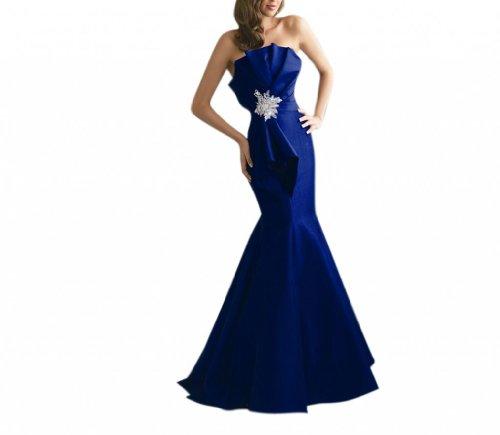 (Dearta Women's Mermaid Strapless Floor-Length Satin Dress US 4 Royal Blue)