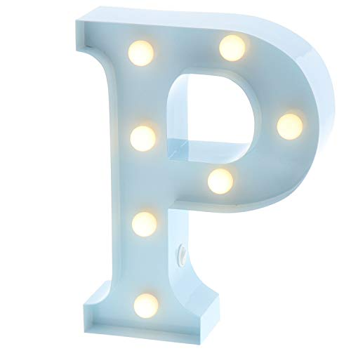 "Barnyard Designs Metal Marquee Letter P Light Up Wall Initial Nursery Letter, Home and Event Decoration 9"" (Baby Blue)"
