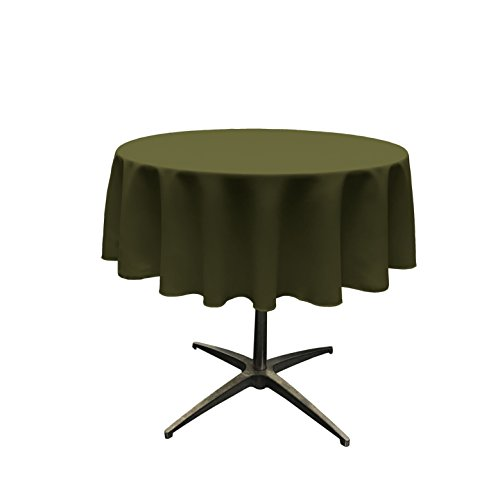 LA Linen Polyester Poplin Tablecloth 51-Inch Round, Olive
