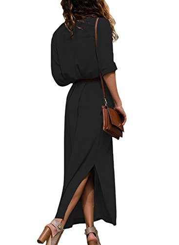 HOTAPEI Womens Button Down Collar Roll up Sleeve Casual Long Maxi Dresses Split Shirt Dress