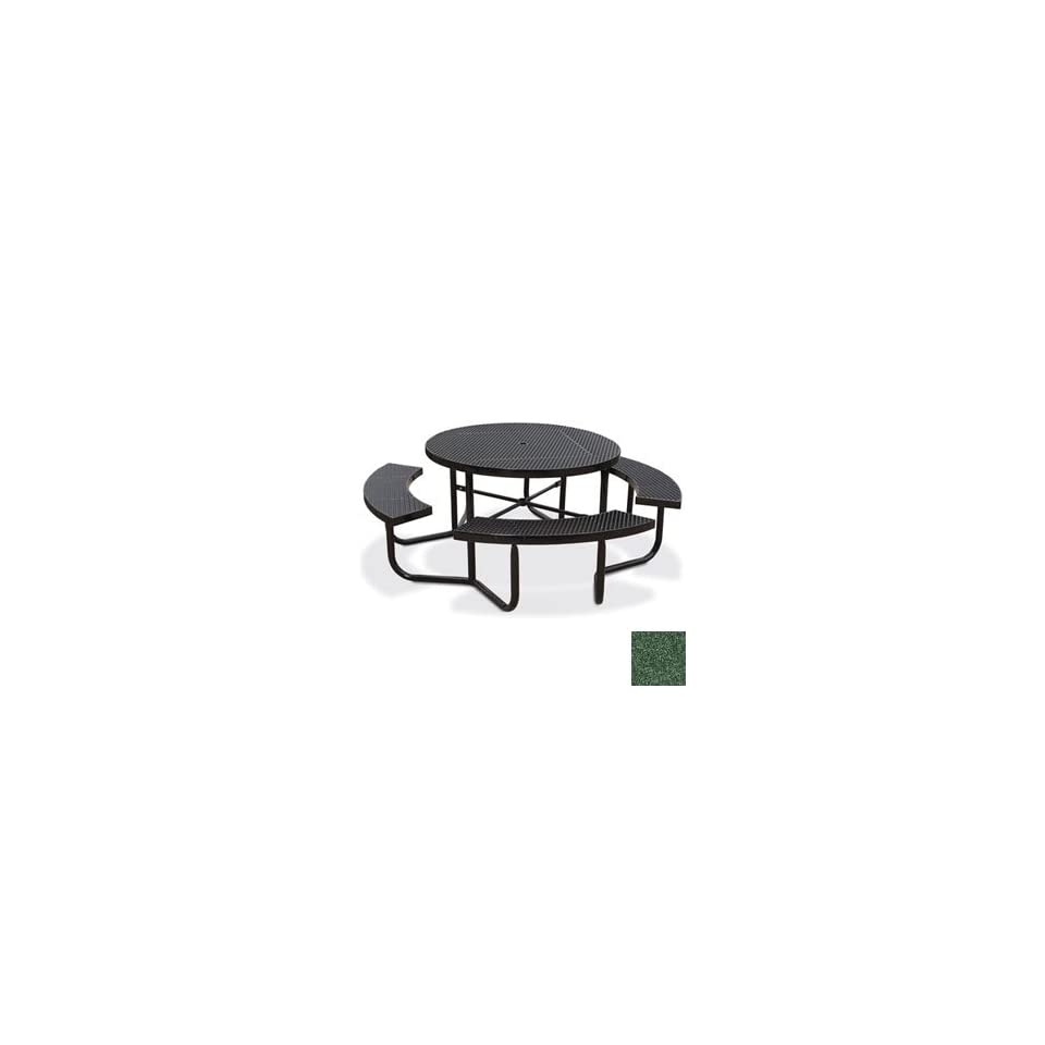 Eagle One Portable Round Expanded Metal Table with 4 Seats   Evergreen   Diamond Pattern