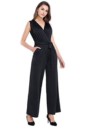 AUQCO Women's V Neck Sleeveless Long Jumpsuit Belted Wide Leg Rompers with Pocket Black