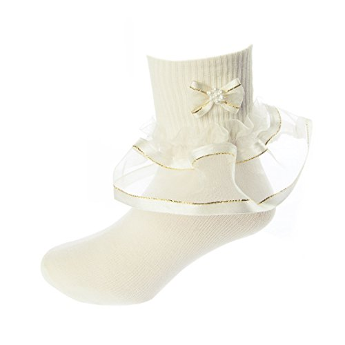 DressForLess Multi Color Girls Socks with Color Ruffled Organza Lace and Ribbon, Ivory Gold, -