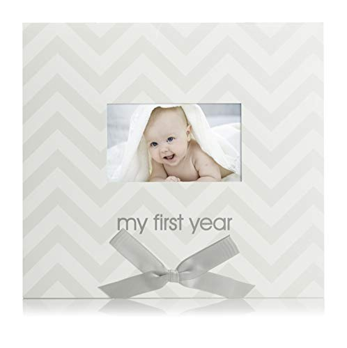 Pearhead Baby's First Year Calendar, Track Every Milestone and Memory, Gray Chevron