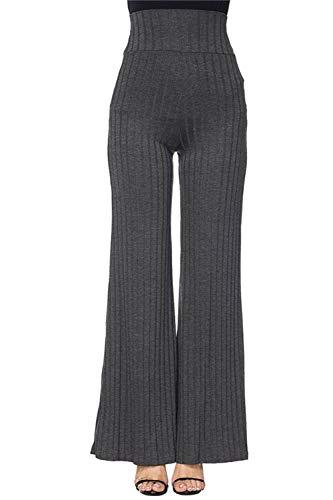 COCOLEGGINGS Womens Ribbed Knit High Waisted Flare Dress Pants Grey - Pants Knit Ribbed