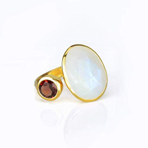 - Double Gemstone Ring, Large Oval Rainbow Moonstone with Garnet Quartz Ring, Adjustable Ring, bezel set ring, Any size Ring, Open Ring