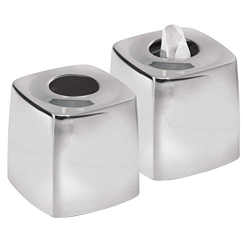 mDesign Metal Square Facial Tissue Box Cover Holder for Bathroom Vanity Countertops, Bedroom Dressers, Night Stands, Desks and Tables - 2 Pack - Polished Stainless Steel
