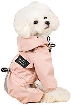 Msy yien ペット用 レインコート ポンチョ 防水 小型犬 中型犬 犬の服 ペット用品 雨具 軽量 可愛い 帽子付き (ピンク, XXL)