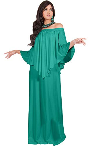 - KOH KOH Plus Size Womens Long Strapless Shoulderless Flattering Cocktail Evening Off The Shoulder Cold Sexy Evening Flowy Formal Slimming Gown Gowns Maxi Dress Dresses, Turquoise 2XL 18-20