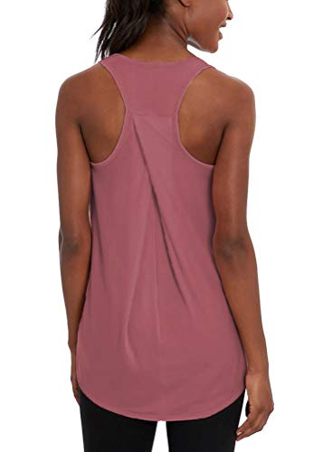 Bestisun Sexy Yoga Tops Scoop Neck Shirts Workout Tank Tops Running Fitness Outfits Gym Exercise Wear Sports Shirts for Women Rose -