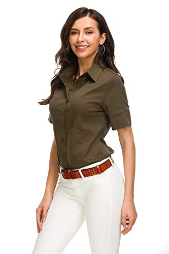c Button Down Shirts Simple Short Sleeve Pullover Stretch Formal Casual Shirt, Army Green, Large ()