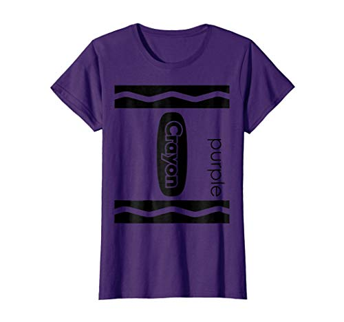Womens Purple Crayon Halloween Couple Friend Group Costume T-shirt Large Purple -