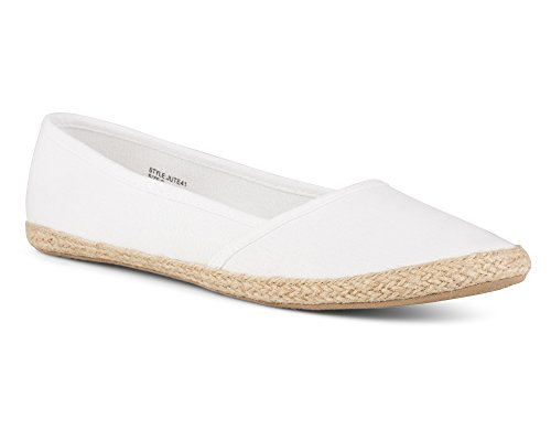 Twisted Women's Jute Canvas Espadrille Flats - JUTE41 WHITE, 8 (Womens Canvas Espadrilles)