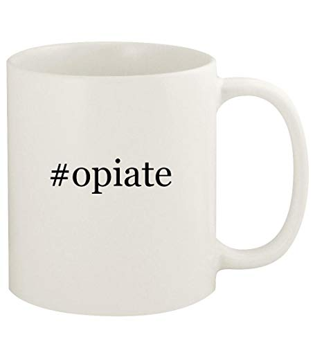 #opiate - 11oz Hashtag Ceramic White Coffee Mug Cup, White