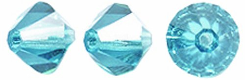 Preciosa Czech Crystal Bicone Beads, 6 by 6mm, Indicolite, 72-Pack