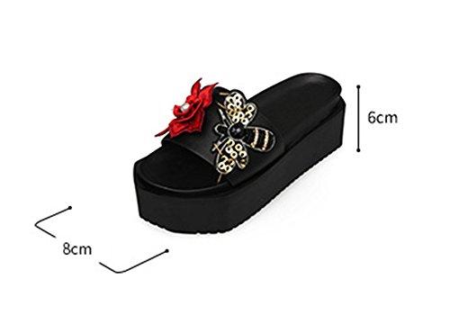 L ZCJB 5cm Verano alto de tacón UK5 suela Tamaño Mujer Zapatillas de Use punta Negro Color 23 exterior sandalias abierta zapatos de gruesa Moda EU38 FPfFWBq