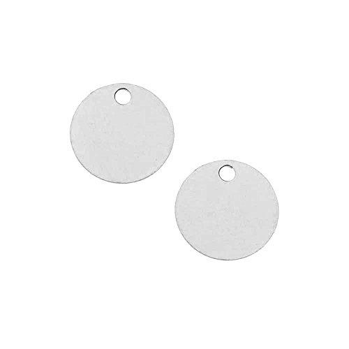 Beadaholique Sterling Silver Charm, Round Disc Pendant Blank 9mm Diameter, 2 ()