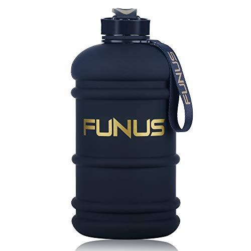 FUNUS Big Water Bottle 2.2L Odorless Water Jug BPA Free Hydro Jug Leak Proof Reusable Big Capacity for Men Women Fitness Gym Outdoor Climbing - 75oz (2.2L Black)