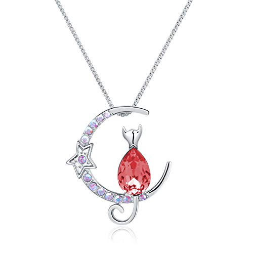 Twenty Plus Sparkling Necklace Moon Star with Sitting Cat Made of Crystals Jewelry Gifts for Women & Girls (Red)