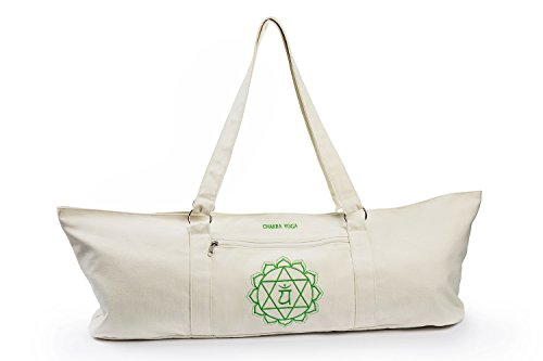 ANAHATA Extra Large Tote Yoga Mat Bag By Chakra Yoga – 100% Cotton, 4 Magnetic Snaps ,Two Zippered Pockets – For All Yoga Practitioners, Men  Women