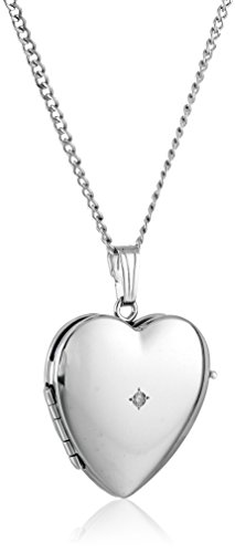 Sterling Silver Diamond-Accented Four-Picture Heart Locket Necklace, 18